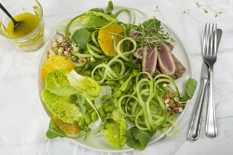 frisse groene salade met vis