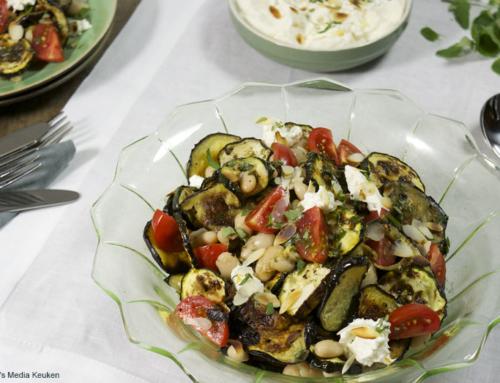 Bonensalade met burrata en geroosterde groenten