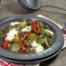 Linzen met paprika, spruitjes en kaas