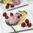 Frambozen-chocoladeijs met appel en rozensuiker