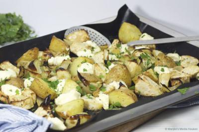 Geroosterde aardappelen met knolselderij en geitenkaas