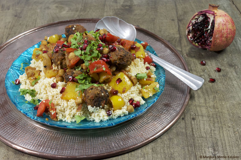 pittige gehaktballetjes met kikkererwten en paprika