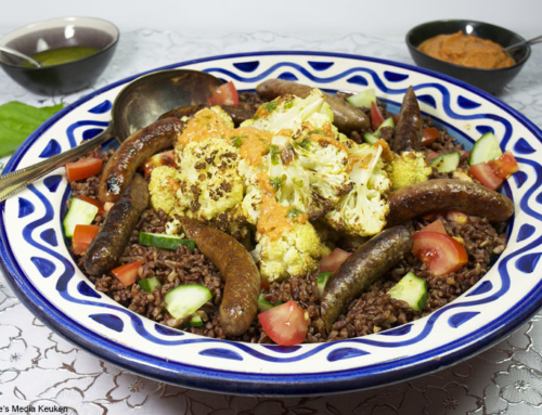 Geroosterde bloemkool met rode rijst en paprikapesto