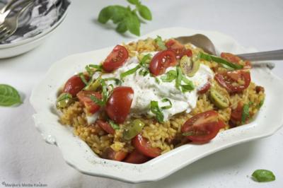 Risotto met chorizo, tomaat en burrata