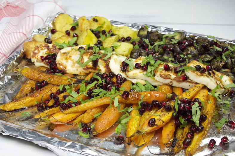 geroosterde groenten met halloumi