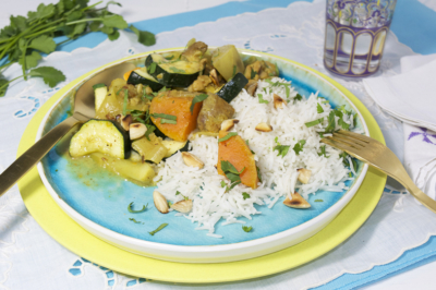 Kipcurry met zoete aardappel en courgette