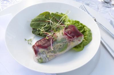 Springroll met quinoa en bladsla