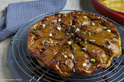 Peren tarte tatin met vanille en pistache