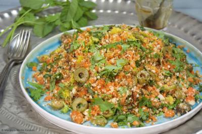 Wortel-bloemkoolcouscous met olijven