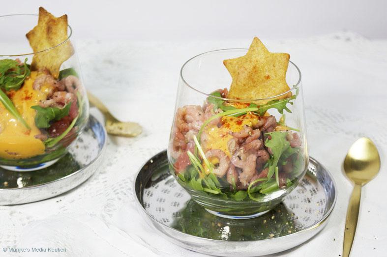 recept garnalencocktail met grapefruit en rucola