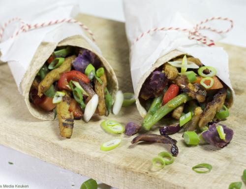 Volkorenwraps met vegetarische kip-shoarma