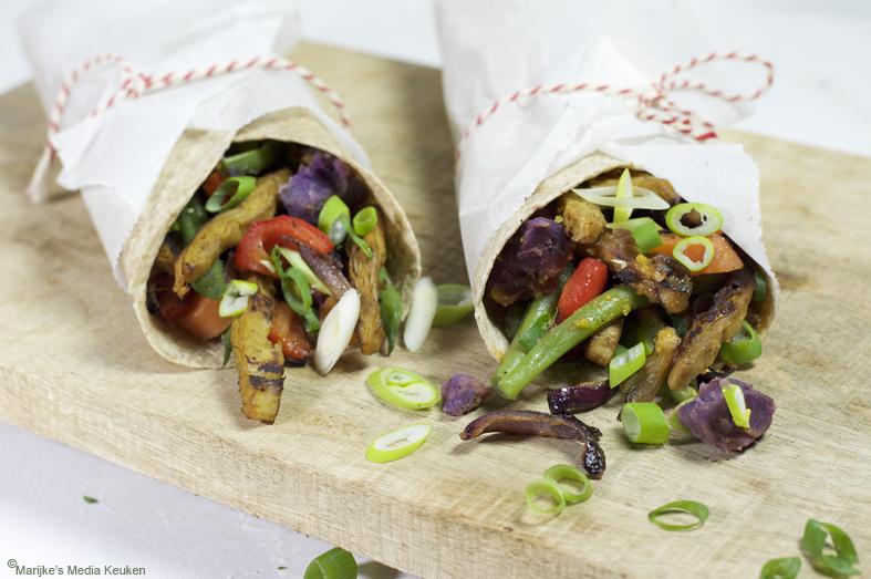 Volkorenwraps met vegetarische kip-shoarma maken