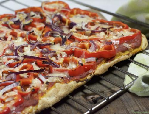Supersnelle pizza met paprika en Parmezaan