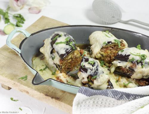 Auberginelasagne met gehakt en amandelbechamel