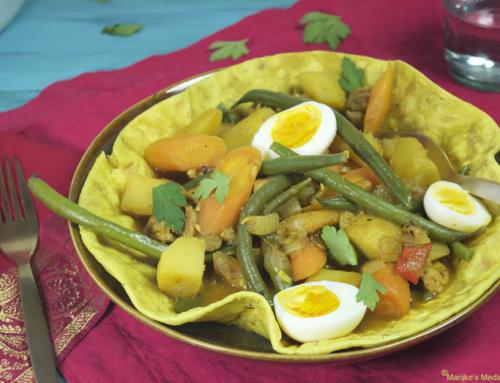 Kip masala met sperziebonen en bospeen