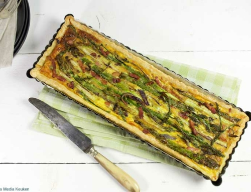 Hartig taartje met groene asperges