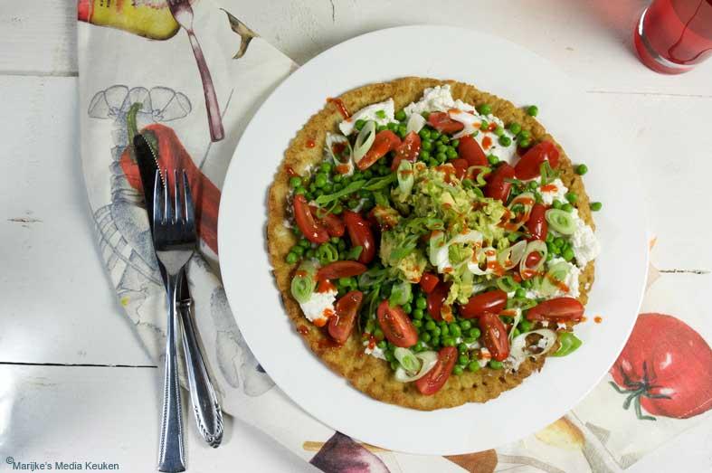 Havermoutpannenkoeken met ricotta, doperwtjes en avocado maken
