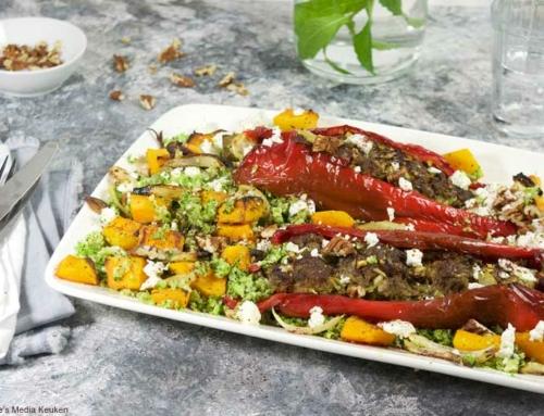 Gevulde paprika's met broccolirijst en pompoen