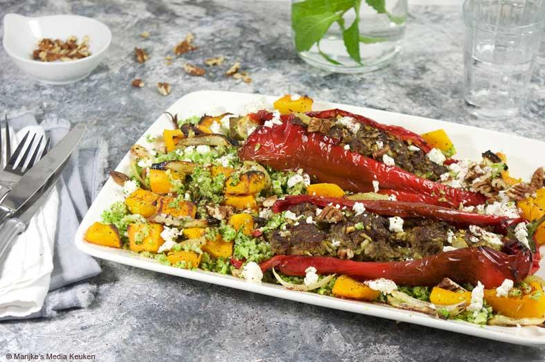 Gevulde paprika's met broccolirijst en pompoen maken