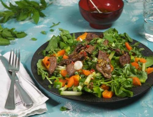 Thaise salade met waterkers en reebiefstuk